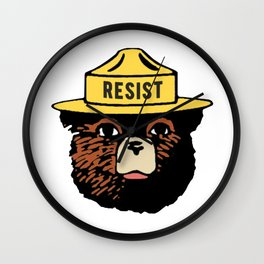 SMOKEY THE BEAR SAYS RESIST Wall Clock