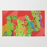 tmnt Area & Throw Rugs featuring TMNT - Bros! by Taiyari
