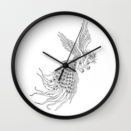 Simorgh or Simurgh Flying Drawing Wall Clock