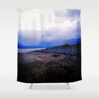 homer Shower Curtains featuring Homer Spit  by Julia Blanchette