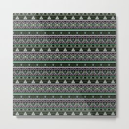 Ethnic ornament ,Black, green Metal Print