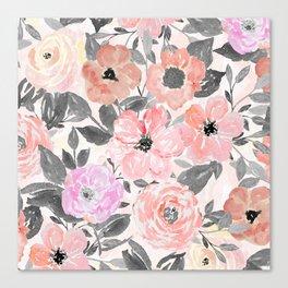 Elegant simple watercolor floral Canvas Print