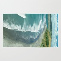 new zealand Area & Throw Rugs featuring Raglan beach, New Zealand by Bruce Stanfield