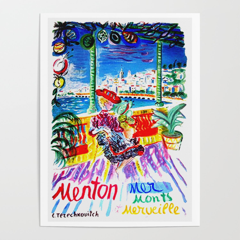 menton menton travel poster menton poster menton print menton travel travel poster wall decor