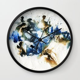Brown and blue abstract Wall Clock