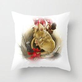 Souris de Noël (Christmas Mouse) Throw Pillow