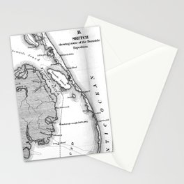 Vintage Map of The Outer Banks (1862) BW Stationery Cards