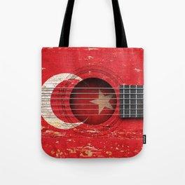 Old Vintage Acoustic Guitar with Turkish Flag Tote Bag