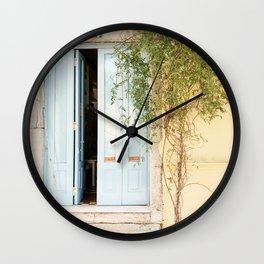 Blue Door Pastel Colored Photo   Portugal Travel Photography   Atmospheric Blue Wooden Door  Wall Clock