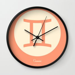 Gemini Symbol Pink Wall Clock