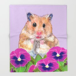 Cute Little Hamster Throw Blanket