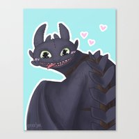 toothless Canvas Prints featuring Toothless by enerjax