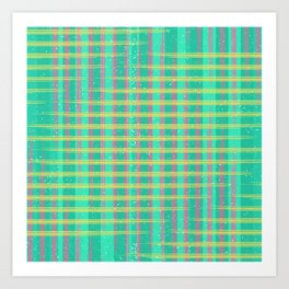 Neon Gingham Classic Pattern Plaid Trippy Pink, Yellow and Turquoise Art Print