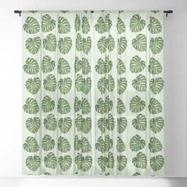 Palm Leaves, Leaf Pattern - Green Sheer Curtain