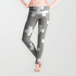 Grey Plus Sign Pattern Leggings