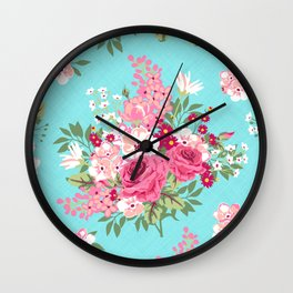 Cottage Chic Pink and Red Roses on Turquoise Linen Wall Clock
