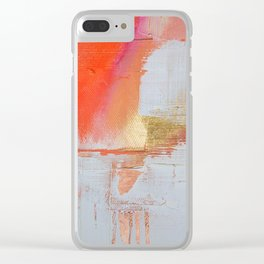 Insight: a minimal, abstract painting in reds and golds by Alyssa Hamilton Art Clear iPhone Case