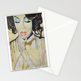 Colourful dripping ink portrait Stationery Cards