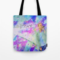 coldplay Tote Bags featuring Chris Martin-Coldplay-Digital Impressionism by Sophie Grace