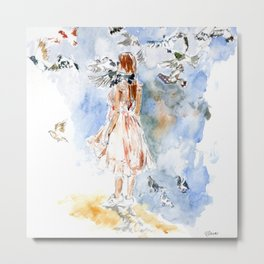 Girl with Doves Metal Print
