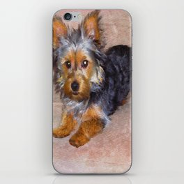 Silky Terrier Puppy - rendered as watercolor iPhone Skin