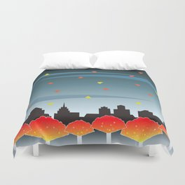 Autumn Red And Gold Duvet Cover