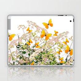 WHITE ART GARDEN ART OF YELLOW BUTTERFLIES Laptop & iPad Skin