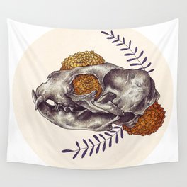 Inktober Cat Skull Wall Tapestry