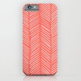 Coral Herringbone iPhone Case