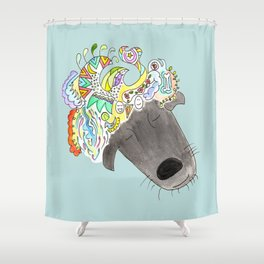 A dog can dream! Shower Curtain