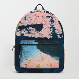 Candyland: a vibrant, colorful abstract piece in blue teal pink and gold by Alyssa Hamilton Art Backpack
