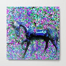 Horse Beneath the Petals Metal Print