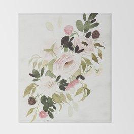 Romantic Loose Rose Bouquet Throw Blanket