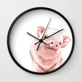 Pink Baby Pig Wall Clock