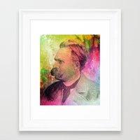 nietzsche Framed Art Prints featuring F.W. Nietzsche by Taylan Soyturk