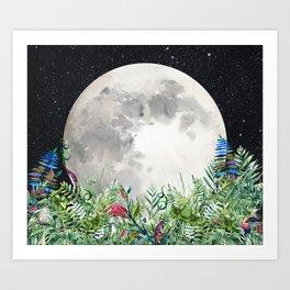 Night Garden Moon Magick Art Print