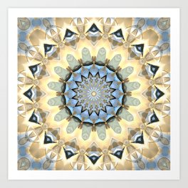 Gold And Blue Geometric Abstract Art Print