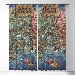 1959 Vintage Alaska Pictoral Map Blackout Curtain