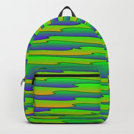 Flowing bright green scribbles of art waves and blue lines. Backpack