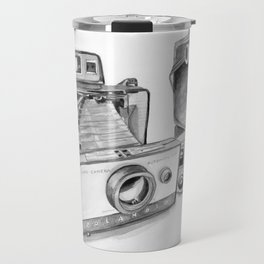 Old Cameras Black and White Painting Travel Mug