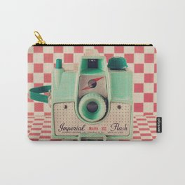 Mint Retro Camera on Red Chequered Background  Carry-All Pouch