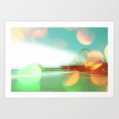 Santa Monica Pier Green Orange Art Print