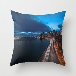 Blue Hour New York City Throw Pillow