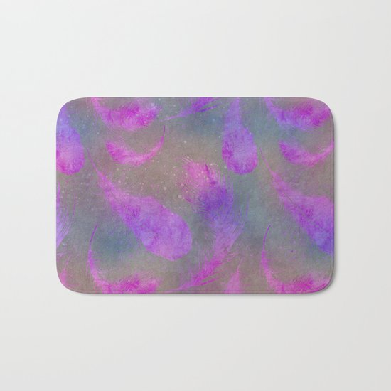 pink watercolor feather pattern Bath Mat