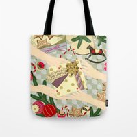 gift card Tote Bags featuring Merry Christmas gift by Yuliya