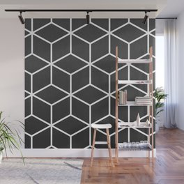Charcoal and White - Geometric Textured Cube Design Wall Mural
