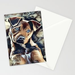 The Blue Eyed Pit bull Puppy Stationery Cards