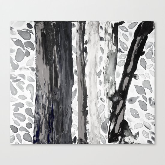 Rainbow Eucalyptus Graffiti artist tree from shedding bark South Pacific Black and White Night Canvas Print
