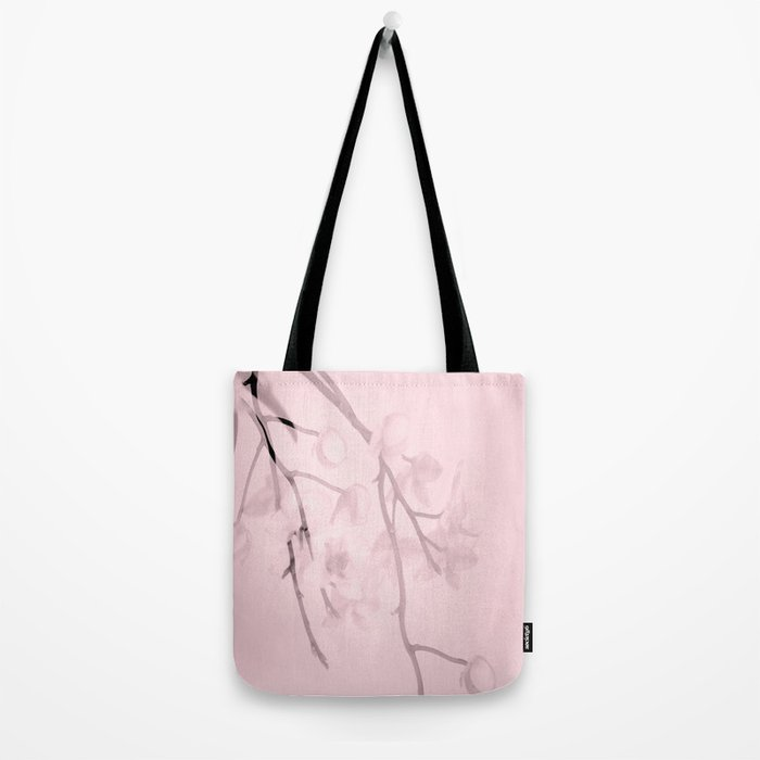 Flower branches on a pastel pink background - spring mood Tote Bag