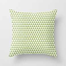 triangles -green and white Throw Pillow